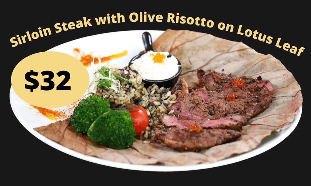 Sirloin-Steak-with-Olive-Risotto-on-Lotus-Leaf